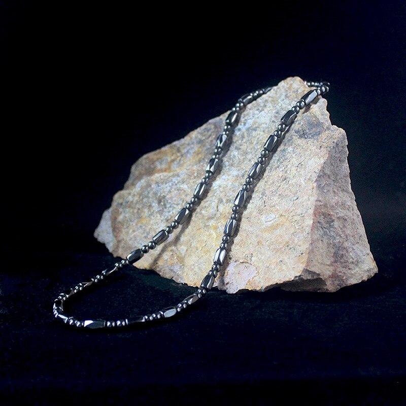 Магнитный гематит граненый барабан бусины натуральное ожерелье с бусинами из камней для женщин и мужчин ювелирные изделия ручной работы HN024|Энергетические ожерелья|   | АлиЭкспресс