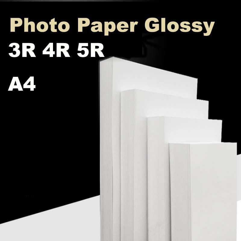 High Glossy Photo Paper A4  5R 4R For Color Inkjet Printer Luminous Smooth Surface Different Size 100sheets/pack