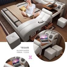 Bed-Frame Massage Bluetooth-Speaker Ultimate Bed Multifunctional Nordic-Camas Genuine-Leather