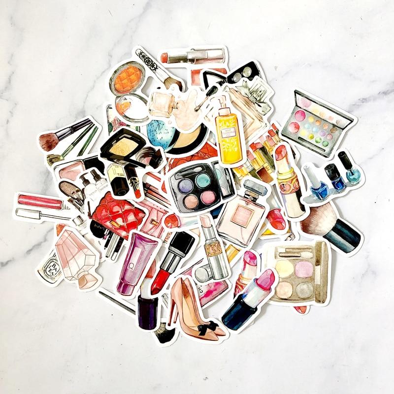 45pcs Fashion Beauty Addict Makeup Junkie Cosmetics Stickers Lipstick Decorative Planner Makeup Sticker Notebook Scrapbooking