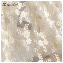 1Yard ivory Plum embroidery mesh tulle lace fabric diy Fashion wedding dress skirt costume materials home decoration