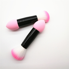 1pc latest Updated Make Up Brushes Two Head Cosmetic Tools Soft Sponge & Blusher Brush with Metal Handle Portable 13cm Mini