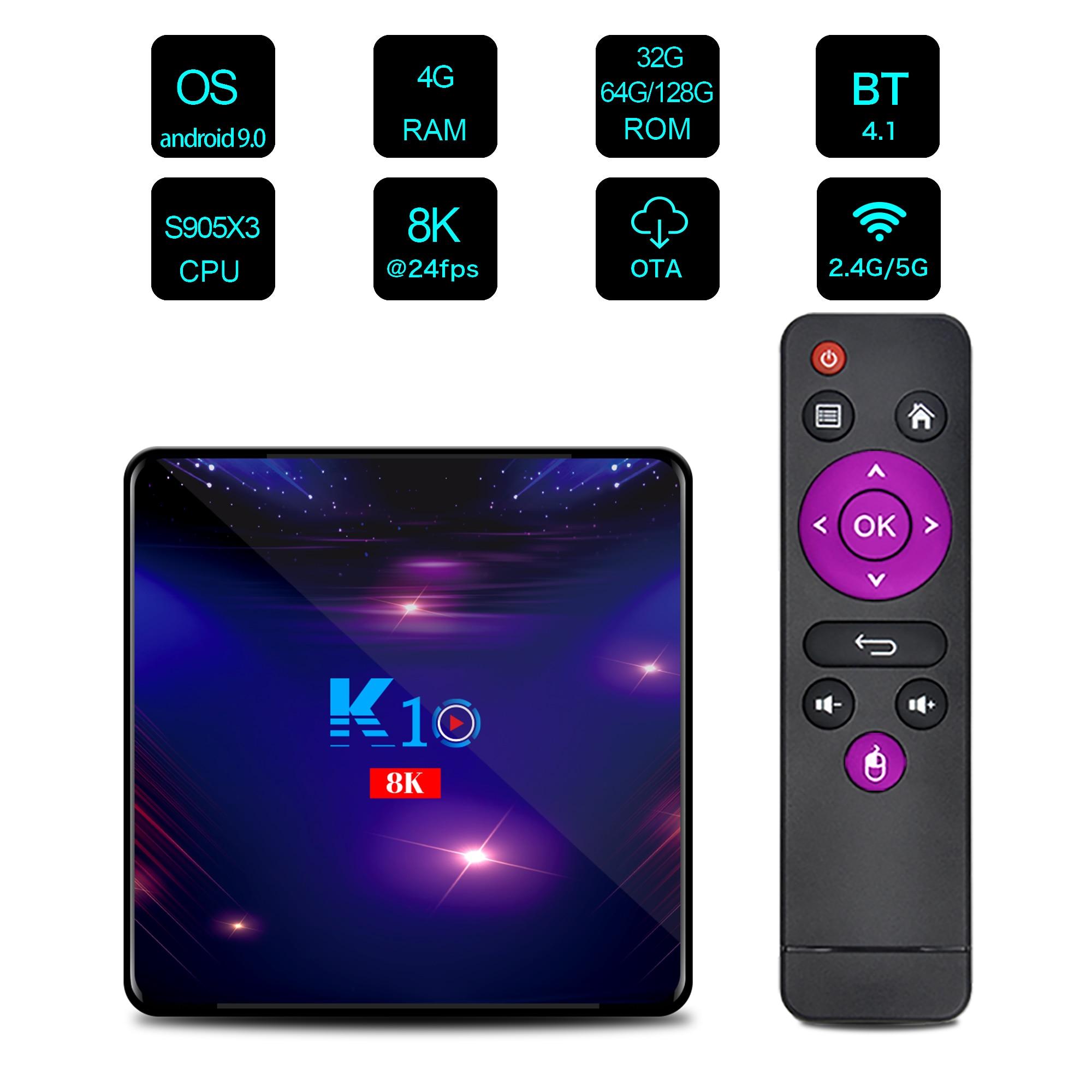 K10 Android 9.0 TV Box S905X3 Quad Core 4GB RAM 32/64/128GB ROM 2.4G /5G WIFI 1000M 8K BOX Change desktop backgro PK H96 MAX