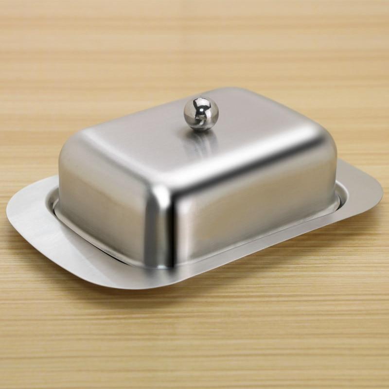 Ev ve Bahçe'ten Yemekler ve Tabaklar'de Mutfak tereyağı tabağı kutu konteyner peynir tabağı saklama kabı kaleci tepsi tereyağı tabağı kapaklı paslanmaz çelik peynir kutuları title=