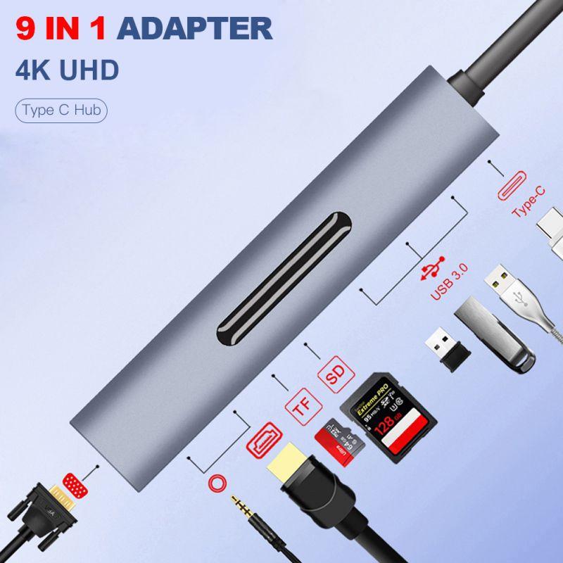 9 in 1 Type C To HDMI / VGA / USB Hub 4K Adapter Converter TF Digital Memory Card Slot|Phone Adapters & Converters| |  - title=