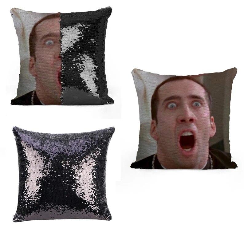 nicolas cage face off sequin pillow sequin pillowcase two color pillow two way pillow magic pillow pillow