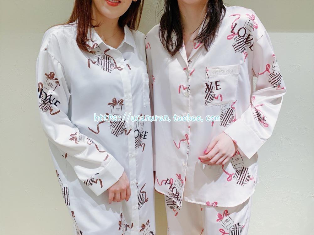 Japan Spring And Summer GP Silk Fabric Love Gifts Printing  Sleepwear Pajamas Pyjamas