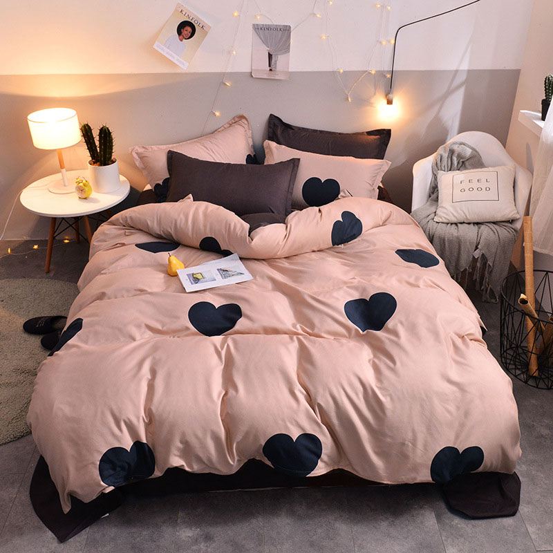 Hearts Printed 4pcs Lovers Bed Cover Set Duvet Cover Adult Child Girl Boy Bed Sheet Pillowcase Comforter Bedding Set 61005