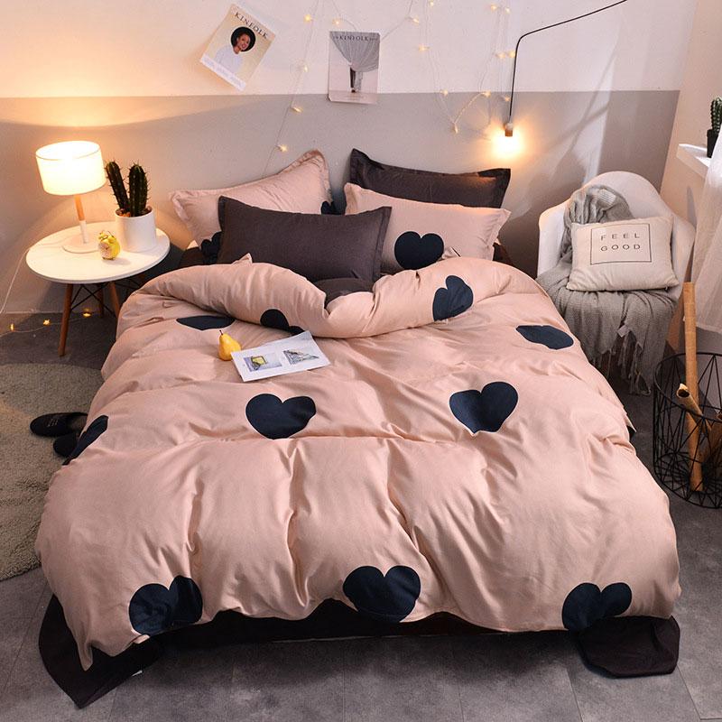Hearts Printed 4pcs Lovers Bed Cover Set Duvet Cover Adult Child Girl Boy Bed Sheet Pillowcase Comforter Bedding Set 61005|Bedding Sets| |  - title=