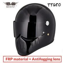 Tt & co estilo japonês pequeno escudo capacete da motocicleta do vintage rosto cheio casco moto retro capacete de fibra vidro frete grátis ttco
