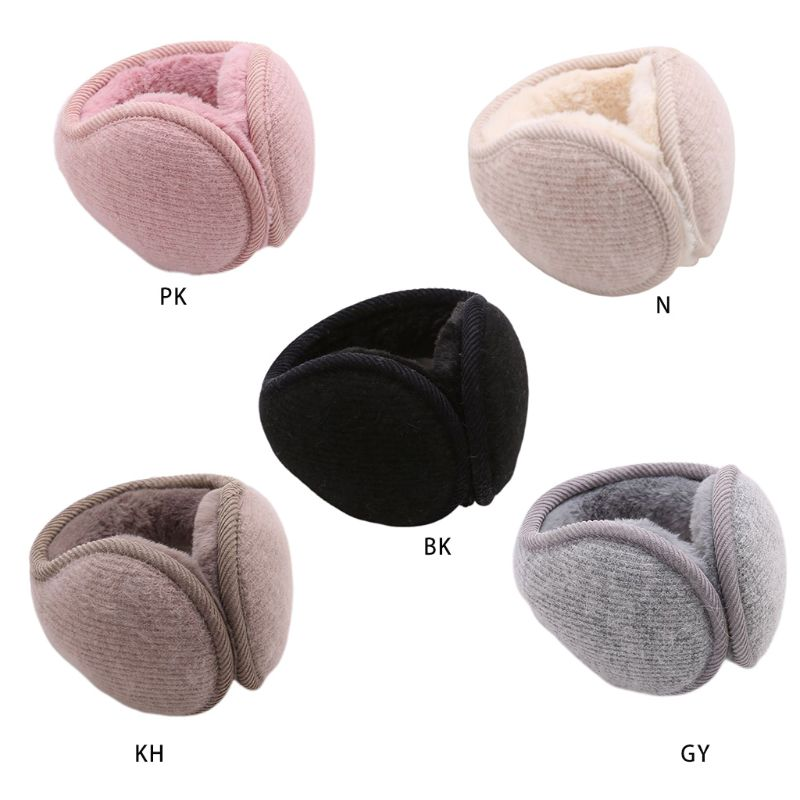 Women Men Winter Fluffy Plush Earmuffs Unisex Casual Soft Solid Color Foldable Stripes Knitted Ear Warmer Cover