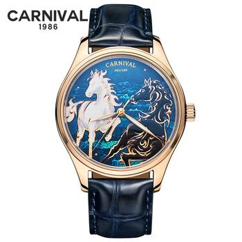 3D Horse Dial mężczyźni zegarki mechaniczne ręcznie nakręcany luksusowa tarcza marka ruch miyota automatyczne mechaniczne męskie zegarki skórzany pasek tanie i dobre opinie CARNIVAL 3Bar Klamerka z zapięciem Moda casual Samoczynny naciąg 22cm STAINLESS STEEL Odporne na wodę 515G ROUND 20mm