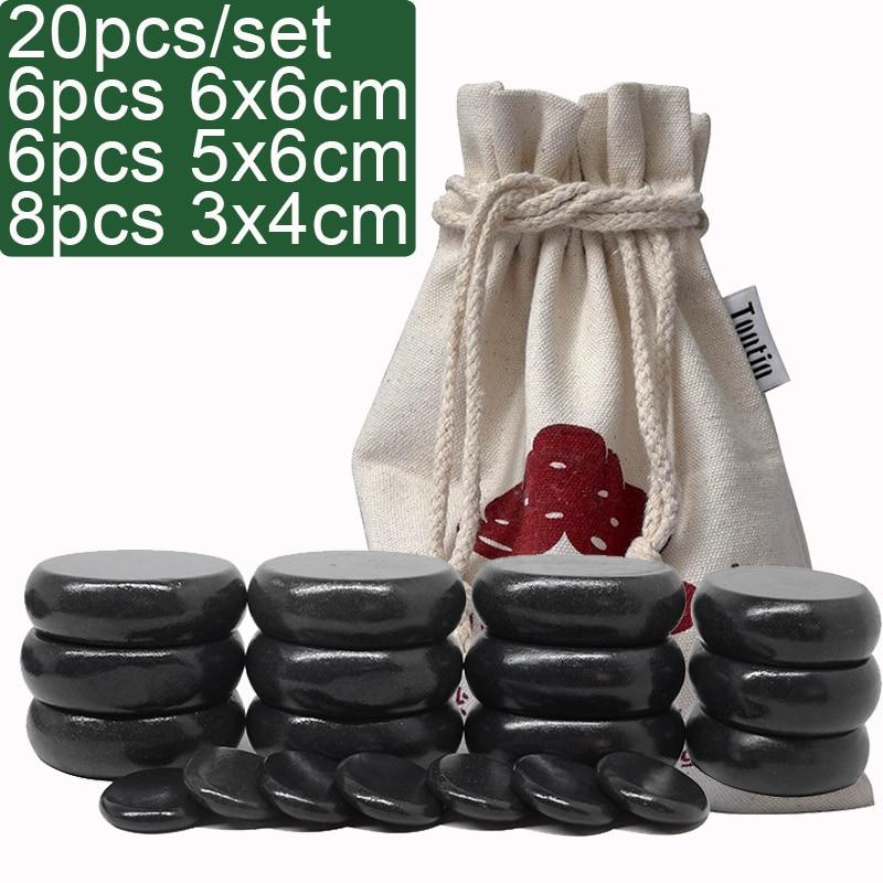 Tontin Hot massage basalt stone Beauty Salon SPA tool with canvas bag CE and ROHS 20pcs/set hot set massager