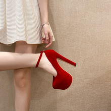 Ladies Pumps Stripper-Heels Chunky-Heels Round-Toe Women with Chaussure Femme 16cm Fall