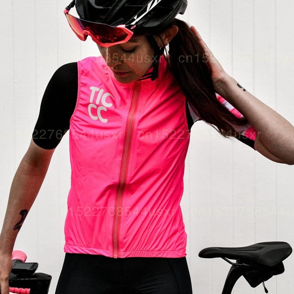 Ticcc Women Cycling Windproof Vest 2019 Black Pink Sleeveless Garment Unisex Road Cycling Tops Wear Bicycle Vest