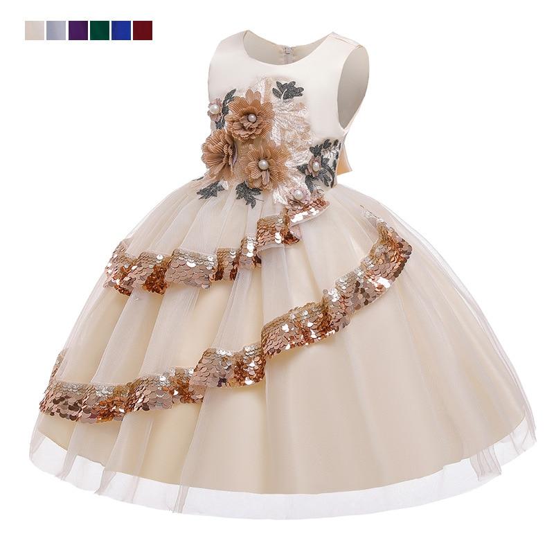 Children's Dress Princess Dress Hot Sale Applique Beaded Flower Girls Wedding Party Dress Irregular Sequins Kids Dress