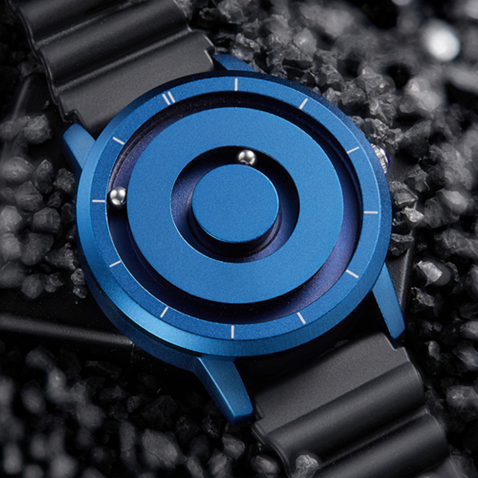 New Fashion Mens Watches Blue Gold Magnetic Multi-function Wristwatch Rubber Sports Quartz Simple Male Clock relogio masculino