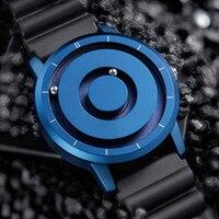 Reloj de pulsera multifunción para hombre, cronógrafo de cuarzo deportivo, magnético, color dorado y azul, a la moda, nuevo