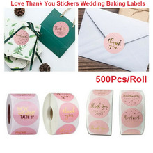 500pcs/Roll Self Adhesive Paper Thank you Stickers Wedding Flower Baking Handmade Adhesive Labels