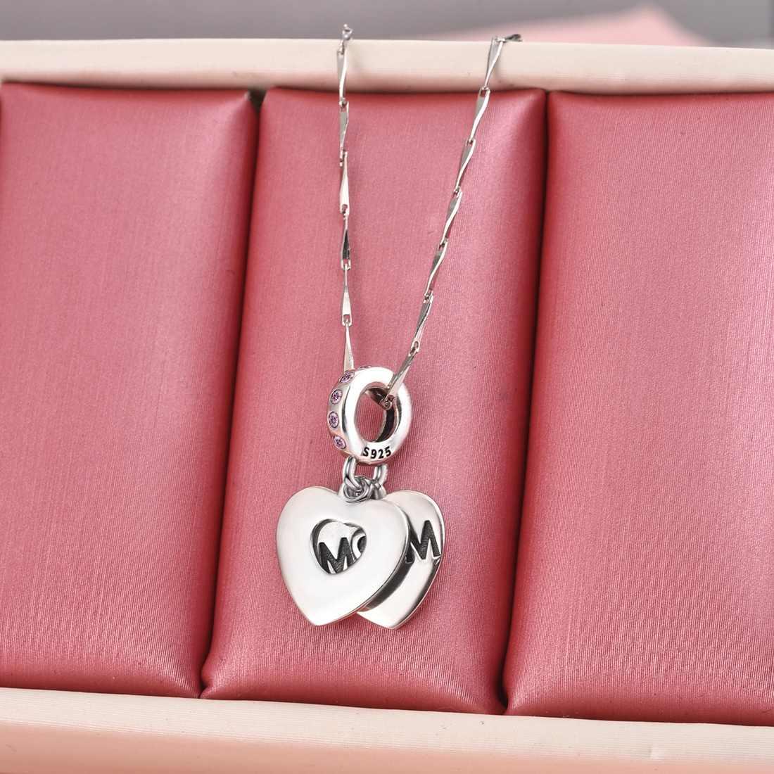 Jiayiqi amor materno encantos em forma de coração 925 prata esterlina cz contas caber pandora encantos pulseiras dia das mães jóias presente