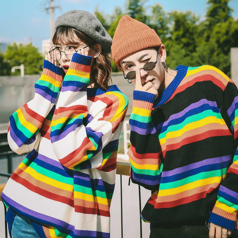 LEGIBLE 2019 nuevo otoño Hip Hop Arco Iris rayas suéter hombres Casual suelto hombres suéteres cuello redondo tejer jerseys hombres