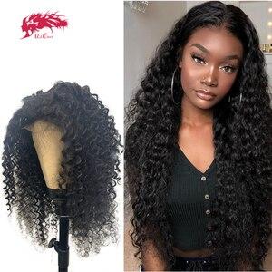 Парики с глубоким волном, 4x4, накладные волосы на шнурках, preprucked 13x4, парики с фронтальным кружевом для черных женщин, волосы Ali Queen Remy, бразильс...