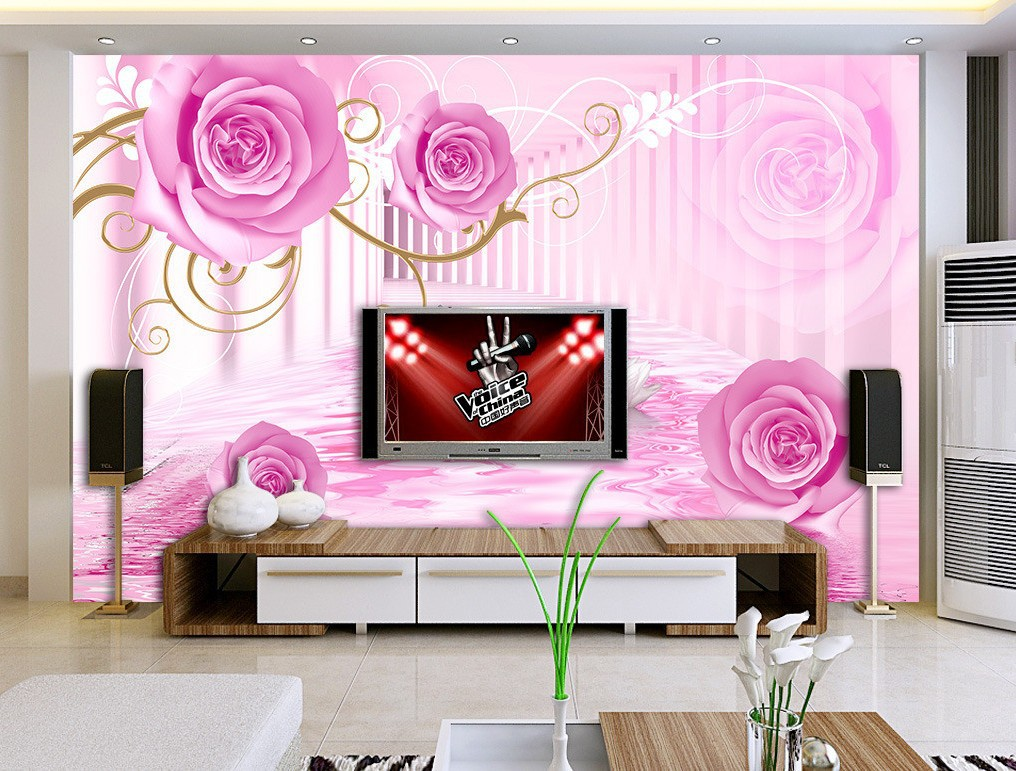 3D Television Back Wallpaper TV Wall Living Room Sofa Decoration Mural Romantic Rose Flower Wallpaper Mural