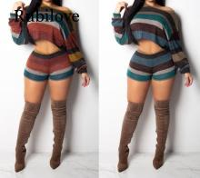 Rubilove Sexy Knitted Two Piece Set Women Clothes Crop Tops+Shorts Suits Autumn Outfits Casual Stripe Sweater 2 Matching S