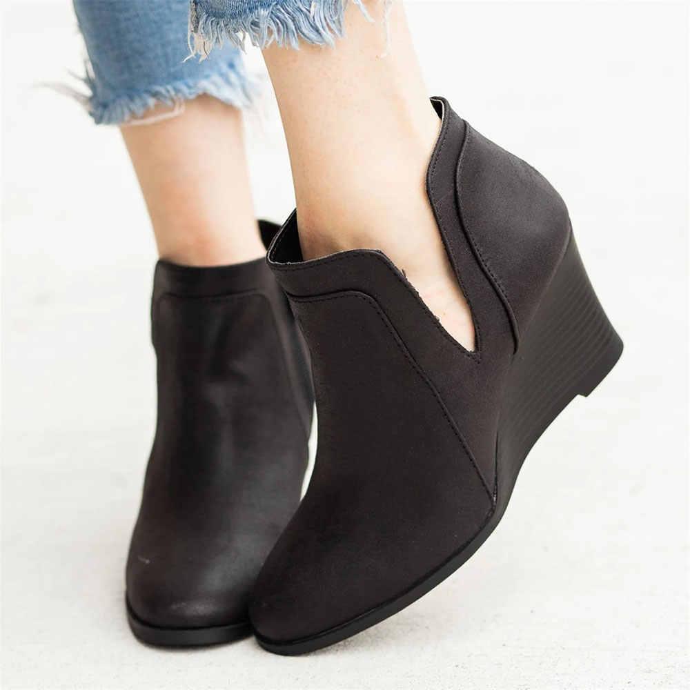 รองเท้าผู้หญิง Wedge รองเท้าส้นสูงรองเท้า Pointed Toe Booties เปิดด้านข้างซิปรองเท้าผู้หญิงรองเท้าสั้น Lady