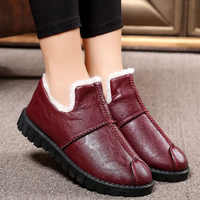 Mom home slippers old style warm plush outside slippers women winter house shoes casual leather slippers woman