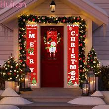 Huiran веселый рождественский знак крыльца декоративный дверной баннер рождественские украшения для дома подвесные рождественские украшения Navidad
