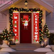 Huiran Merry Christmas Porch Sign Decorative Door Banner Decorations for Home Hanging Ornaments Navidad 2019