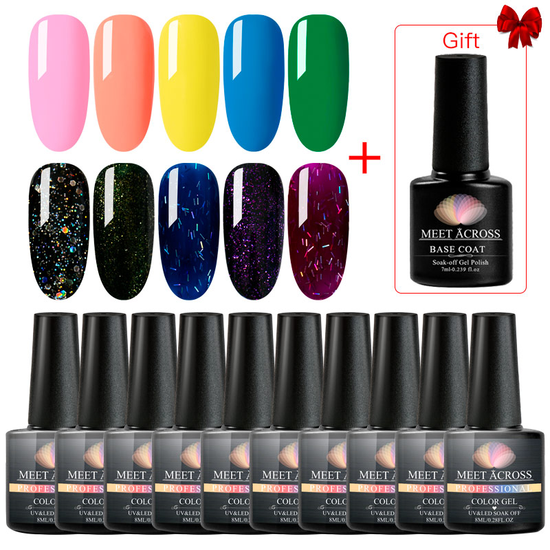 MEET ACROSS Pure Color UV Gel Nail Polish Set For Nail Kit Glitter Nail Art Gel Varnishes Design Manicure Set Kit Hybrid Gel