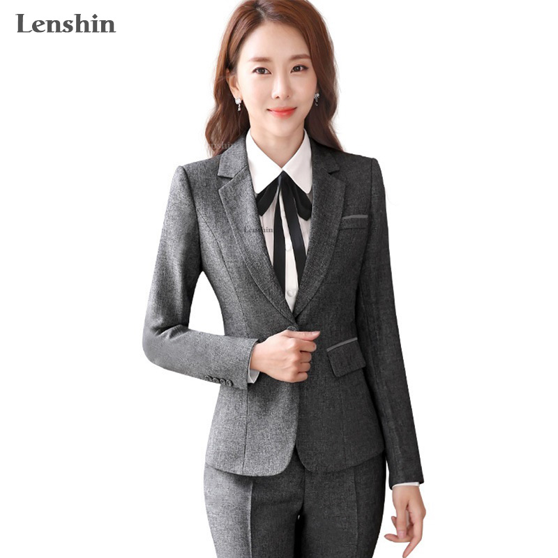 Lenshin 2 Piece Ladies Formal Pant Suit Office Uniform Designs Women Business Suits Dark Gray Blazer For Work Autumn Wear
