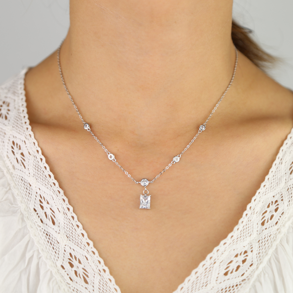Tiny link chain with bezel cz station big baguette cz charm station necklace women 925 sterling silver jewelry for wedding