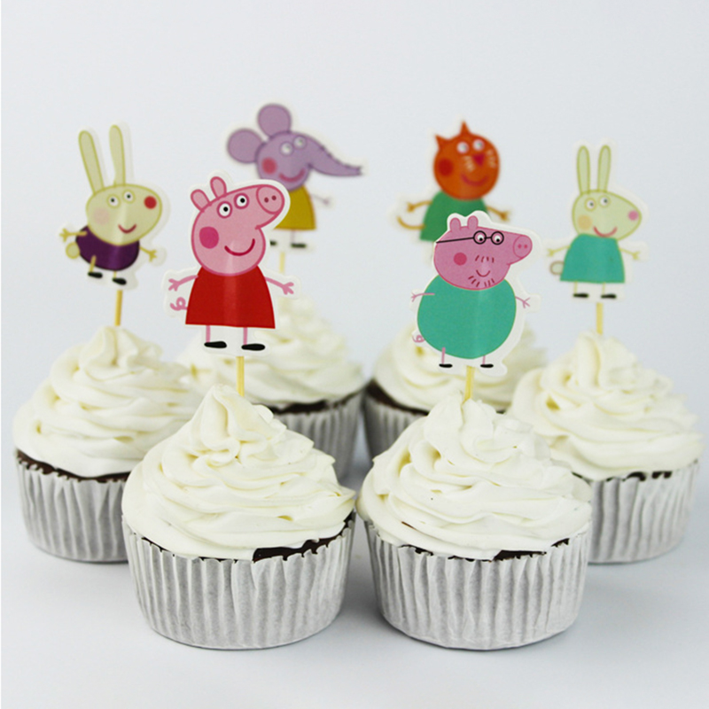 24 Pcs Peppa Pig Birthday Decoration Cake Card Fruit Plug-in Children Birthday Party Supplies Wedding Birthday Party Toys