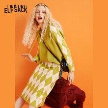 ELFSACK アーガイルプルオーバーセーター、女性 2019 ファッション冬グリーンカジュアルスーツ毎日服