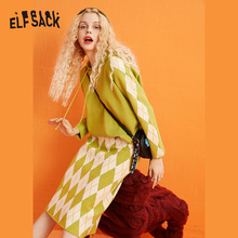 ELFSACK Argyle Pullover Sweater, Women 2019 Fashion Winter Green Casual Suit Daily Clothing