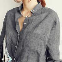 Femme, женские топы, модная Осенняя льняная белая рубашка, женская блузка с длинным рукавом, Корейская женская одежда, Roupas Femininas