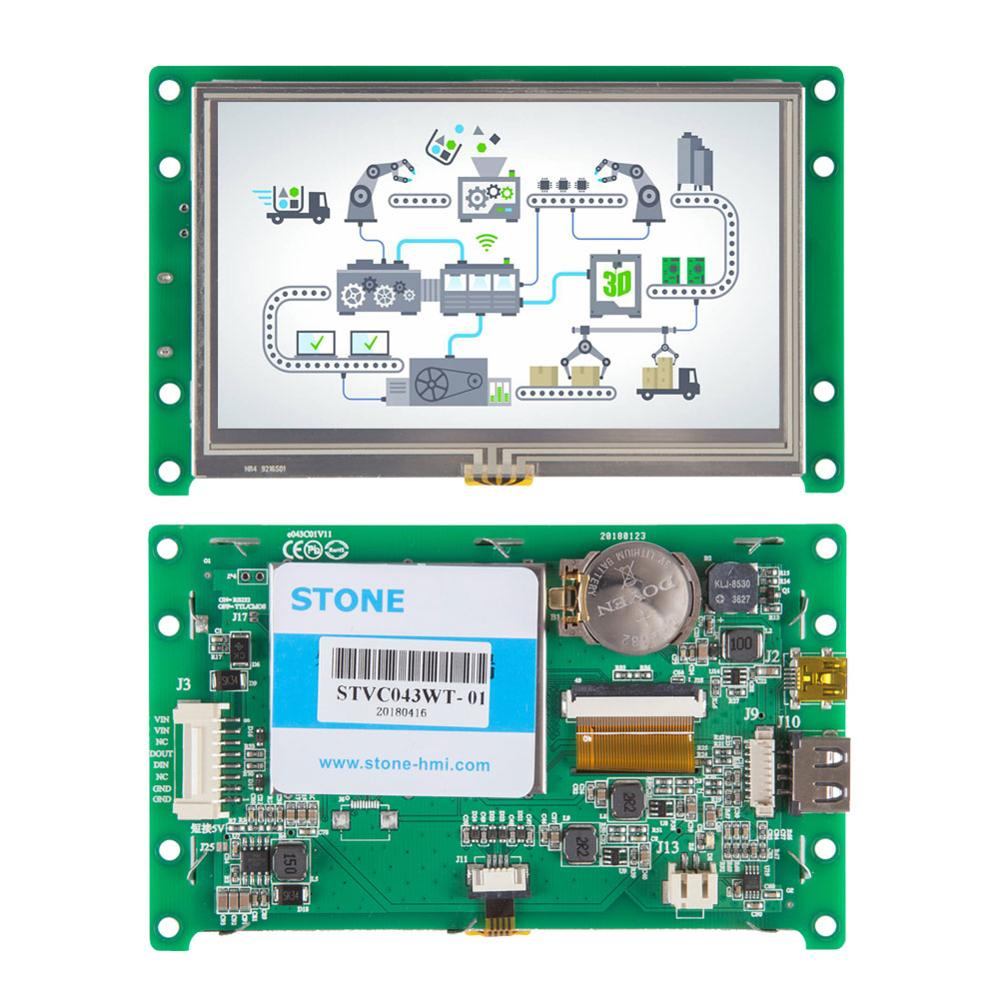 STONE 4.3 Inch HMI TFT LCD Display Module With Embedded System+Program+CPU For Industrial Use