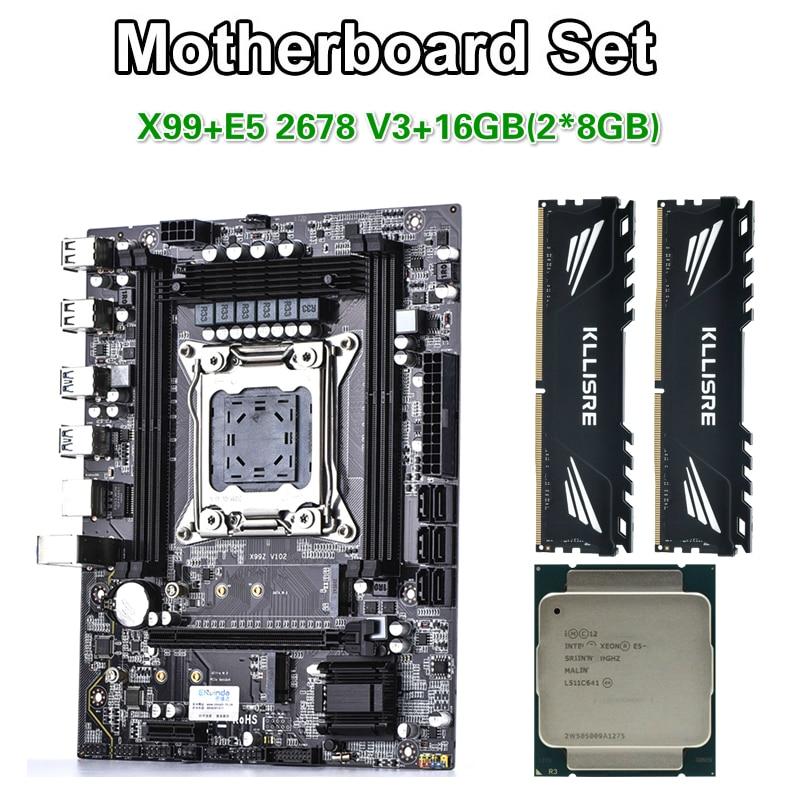 Kllisre X99 motherboard set with Xeon E5 2678 V3 LGA2011-3 CPU 2pcs X 8GB =16GB 2400MHz DDR4 memory(China)