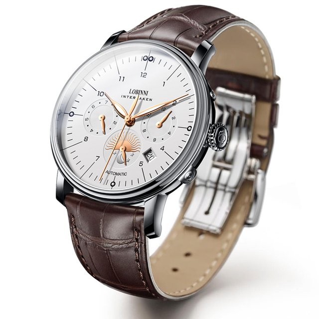Luxury Brand Switzerland LOBINNI Men Watches Perpetual Calender Auto Mechanical Men's Clock Sapphire Leather relogio L15008-9 2