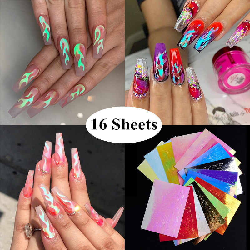16pcs Holographic Fire Flame Nail Stickers 3D Glitter Laser Flames Nail Art Foil Transfer Sticker Decal Decorations Set