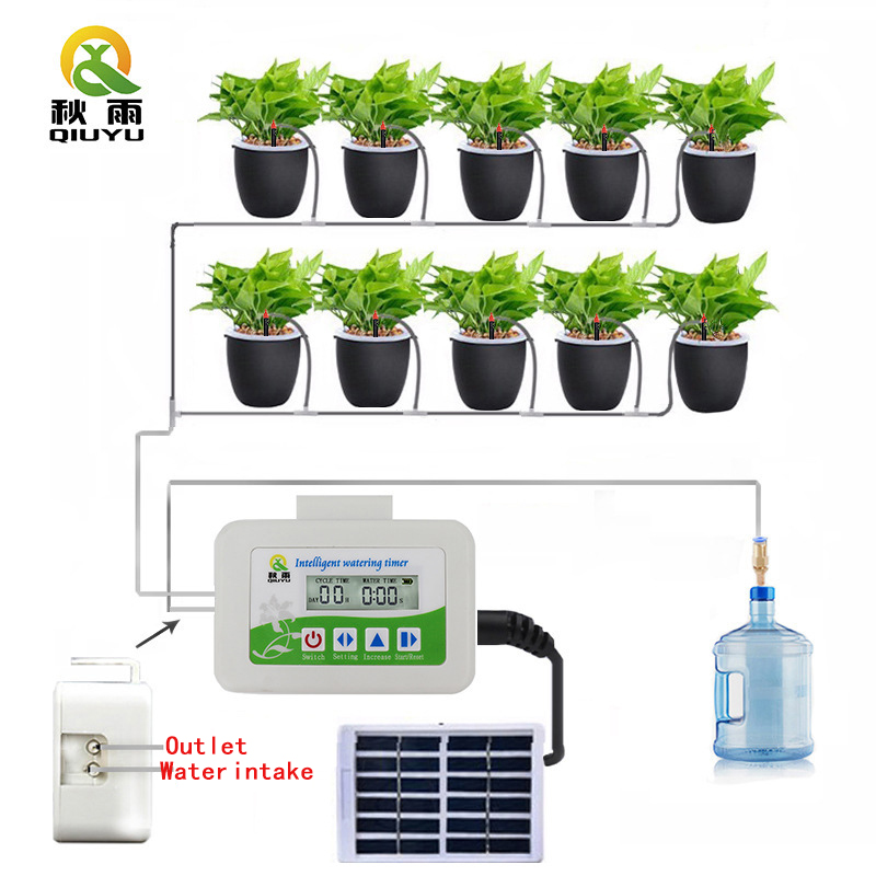 QIU YU Brand Smart Solar Watering Timer Watering Device Garden Irrigation Controller Watering Suit  Automatic Electronic Display