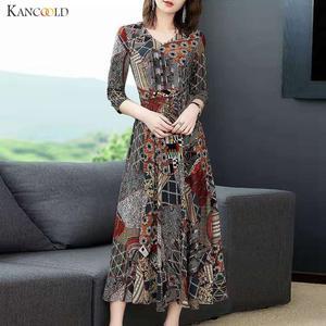 KANCOOLD Dress Women Floral-Print Ladies Three-Quarter-Sleeve Fashion Empire V-Neck A-Line