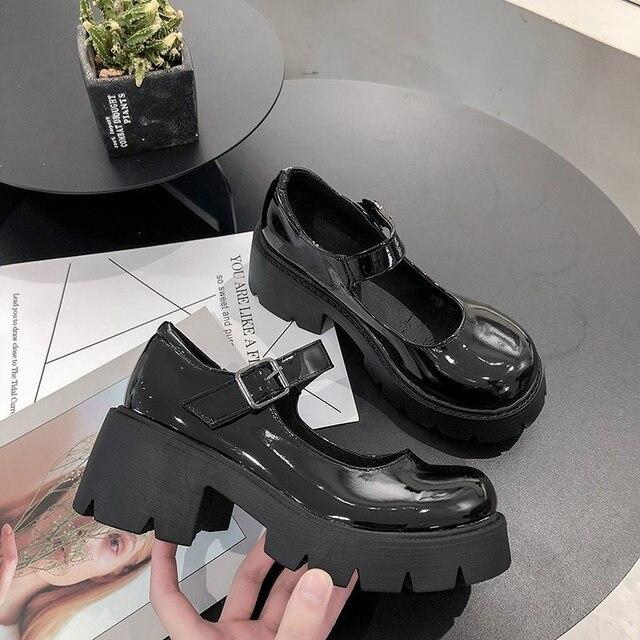 Lolita – chaussures à talons hauts pour femmes, Style japonais, Vintage, doux, pour filles sœurs, plateforme étanche, Costume Cosplay pour étudiantes 1