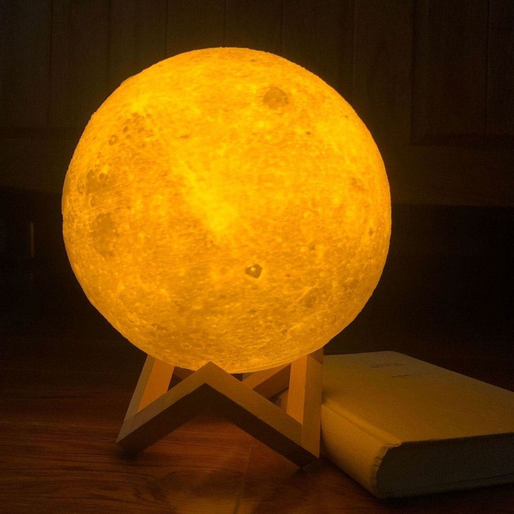 Touch Light Switch Rechargeable Color Changing Lamp Moon 2 3D 3D Moon Print Lamp Room Rack Night Light Creative Gifts