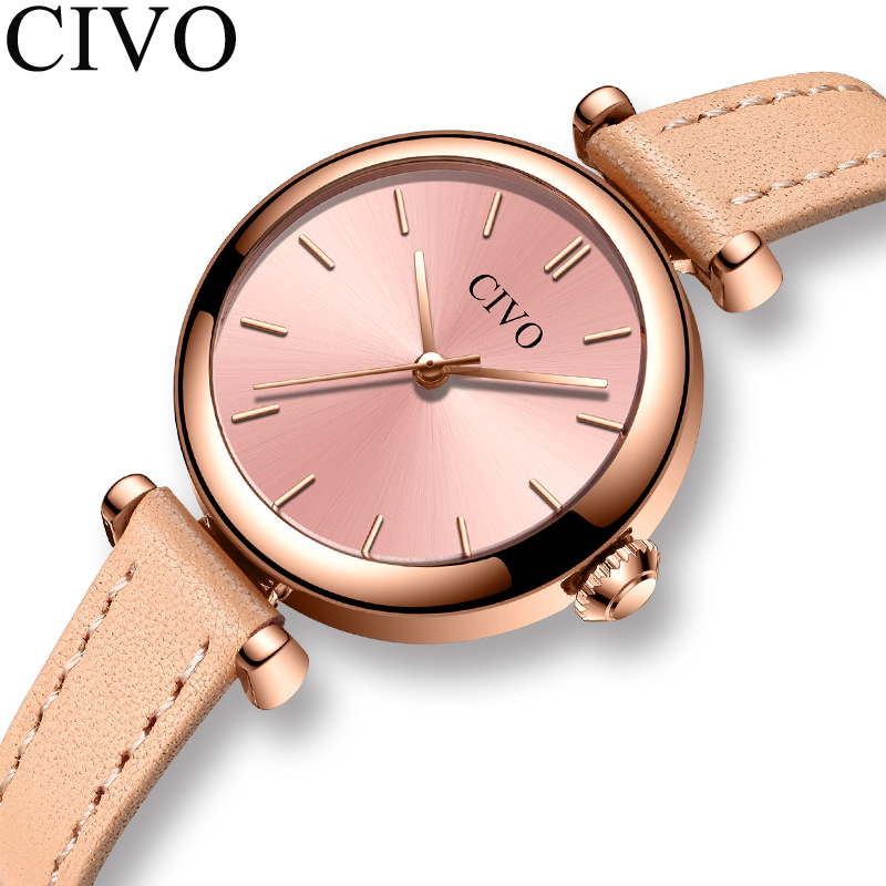 CIVO Luxury Women's Wrist Watches Fashion Pink Dial Simple Style Ladies Waterproof Quartz Clock 2019 Dress Casual Wrist Watch