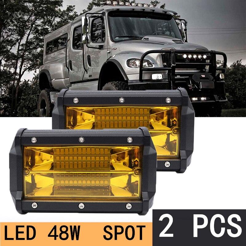 2PCS LED Work Light 72w Waterproof Offroad Car Truck Tractor Boat Trailer SUV ATV 12V Spot Flood LED Light Bar LED Work Light