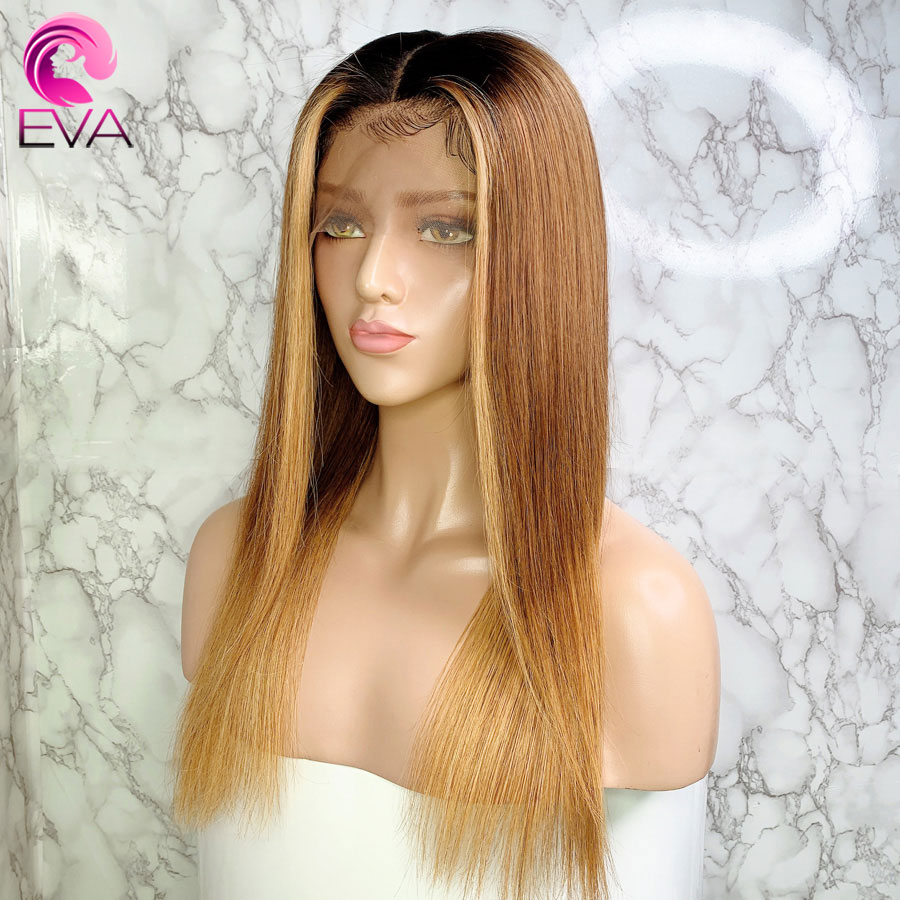 Eva Straight Ombre Highlights 13x6 Lace Front Human Hair Wigs Pre Plucked With Baby Hair Brazilian Remy Hair Wig For Black Women